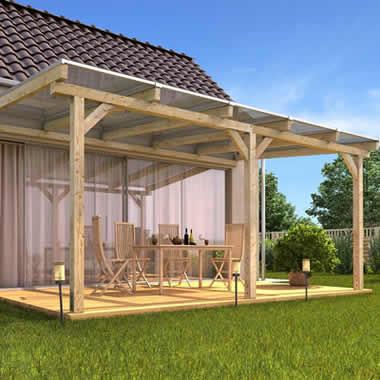 Vordach aus Holz für Terrasse